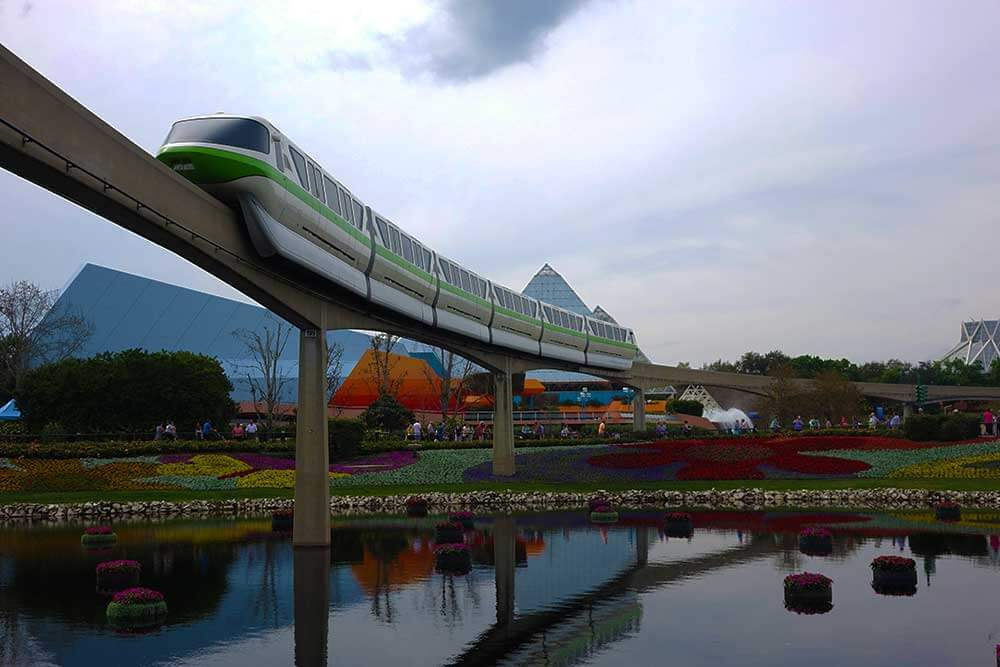 Epcot Transportation - Monorail over Water