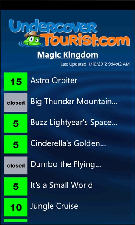 Disney World & Universal Orlando Wait Times Apps for Windows Phone 7