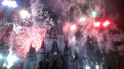 Enjoying the Magic Kingdom Fireworks