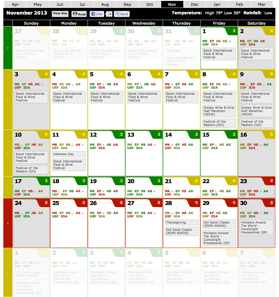 Disney Crowd Calendar Updated with Park Hours -- November 2013