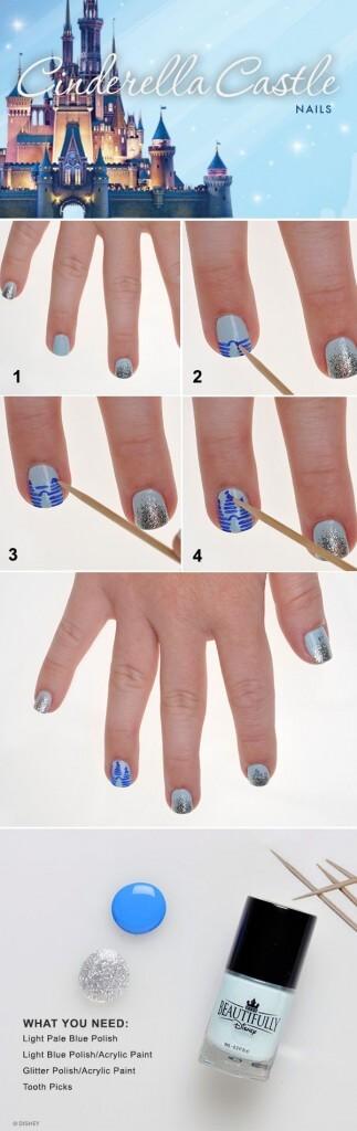 Cinderella Castle nail art tutorial
