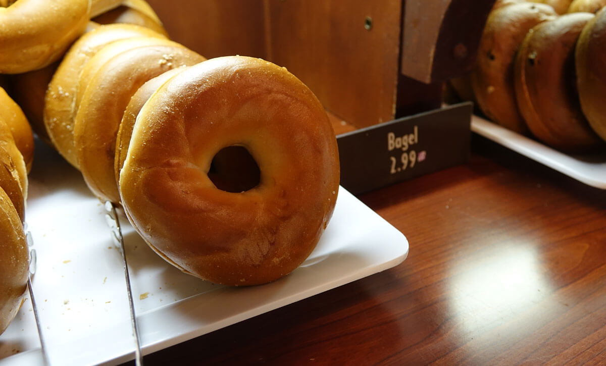 Most filling snacks at Disney World - Bagel and cream cheese at Starring Rolls