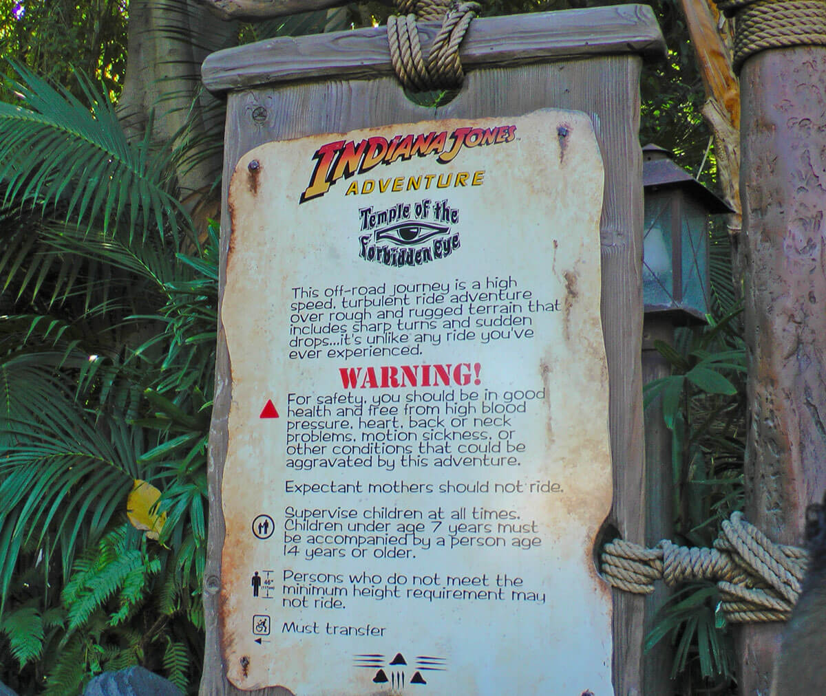 Disneyland Height Requirements - Indiana Jones Adventure
