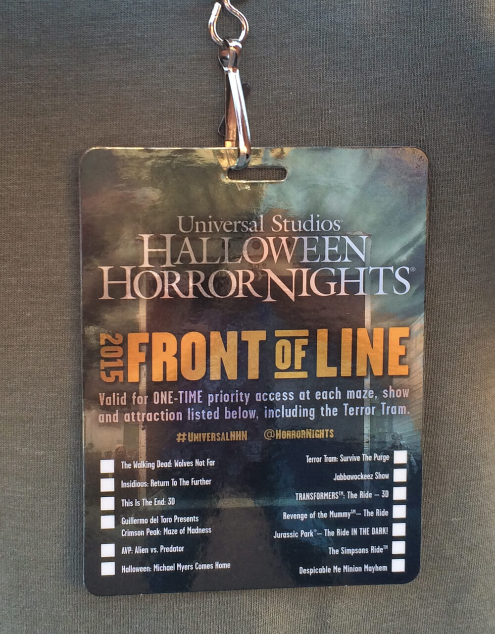 universal studios hollywood front of the line pass halloween horror nights hollywood 2015 front - Halloween Horror Nights Free Tickets