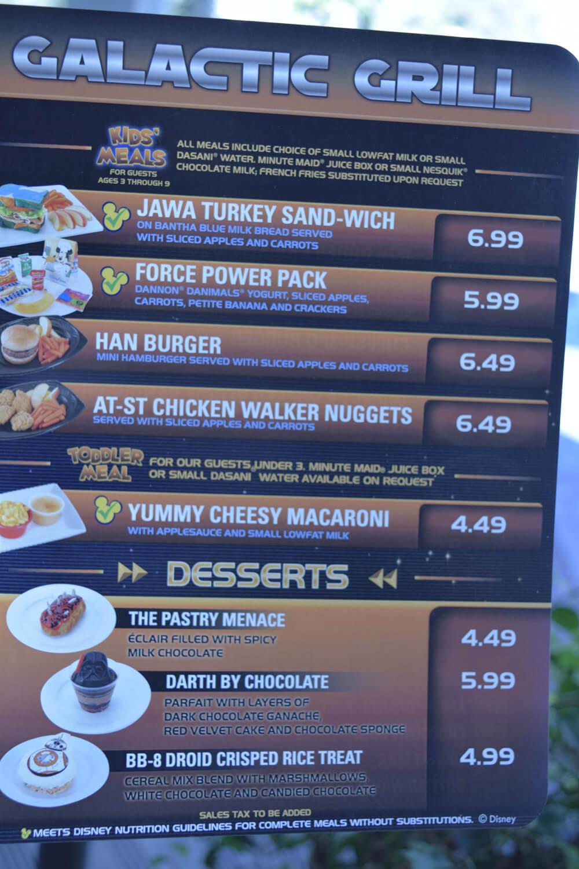 Season of the Force Treats at Disneyland - Galactic Grill Menu