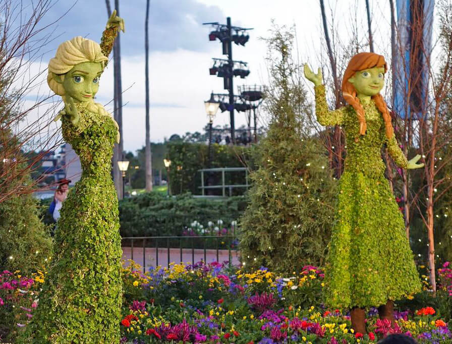 Epcot Flower and Garden 2017 - Anna and Elsa Topiaries