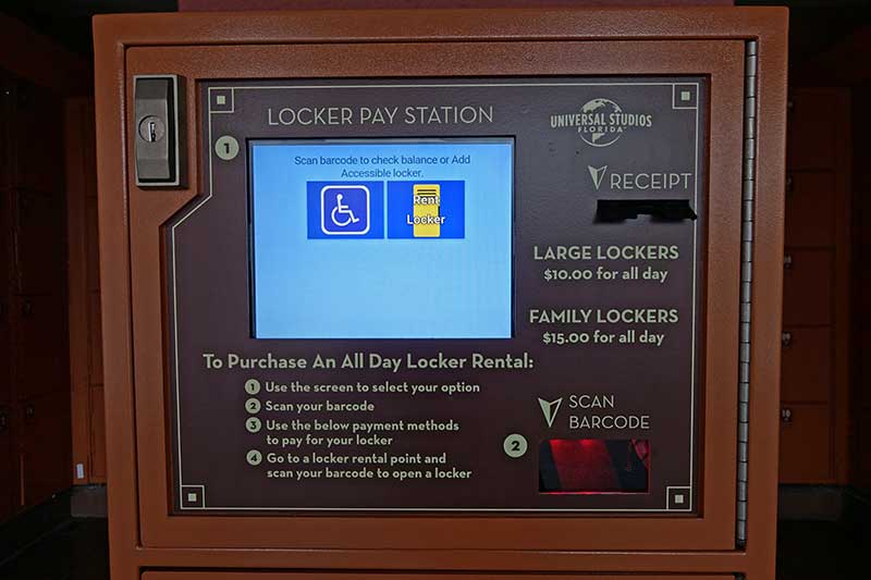 Universal Orlando's Lockers for Rides - Pay Station