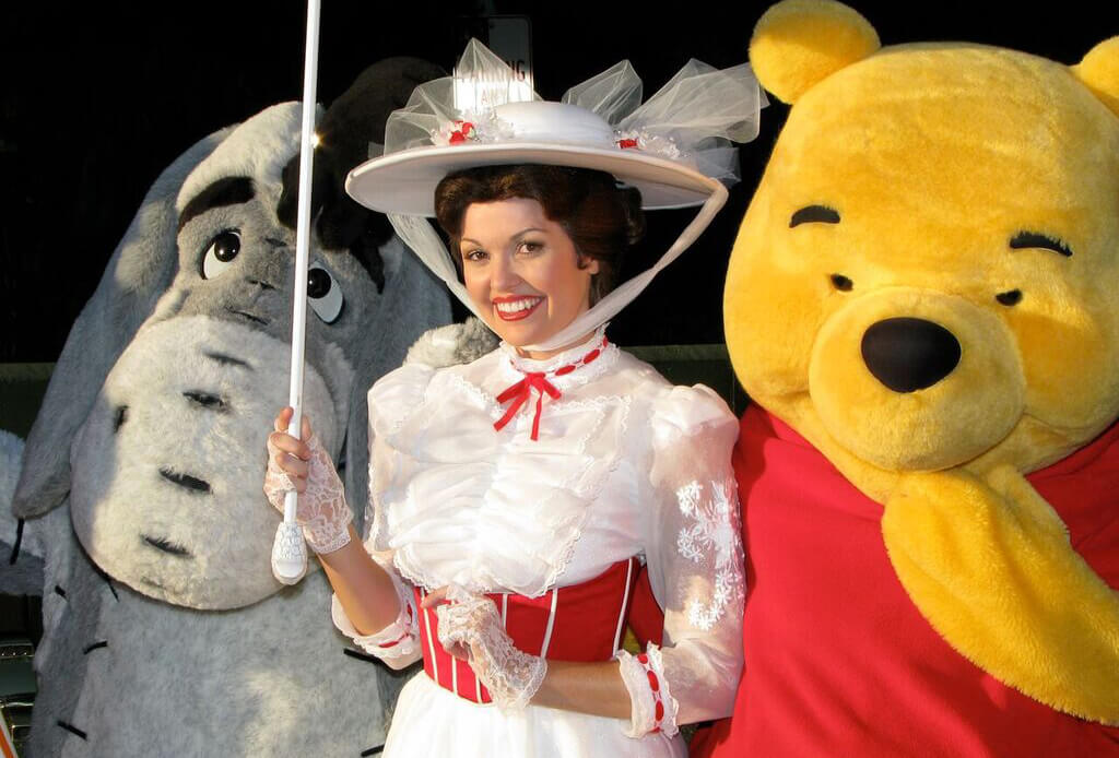 Characters at Disneyland - Mary Poppins, Pooh and Eyeore
