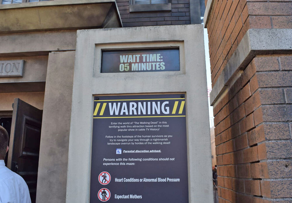 The Walking Dead Attraction at Universal Studios Hollywood - Wait Time