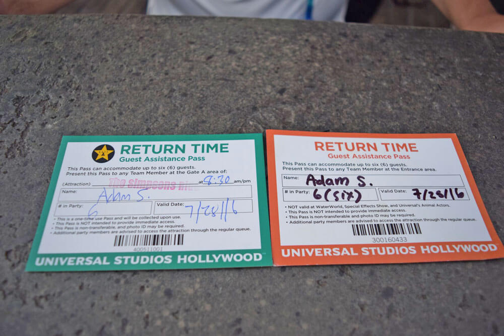 Universal Studios Hollywood Guest Assistance Pass (GAP) - Return Time