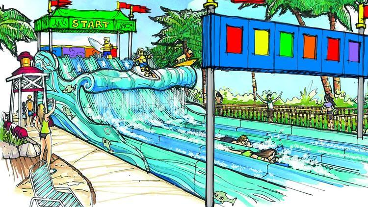The newest expansion to Legoland California's water park is Surfer's Bay, a water slide designed for children.
