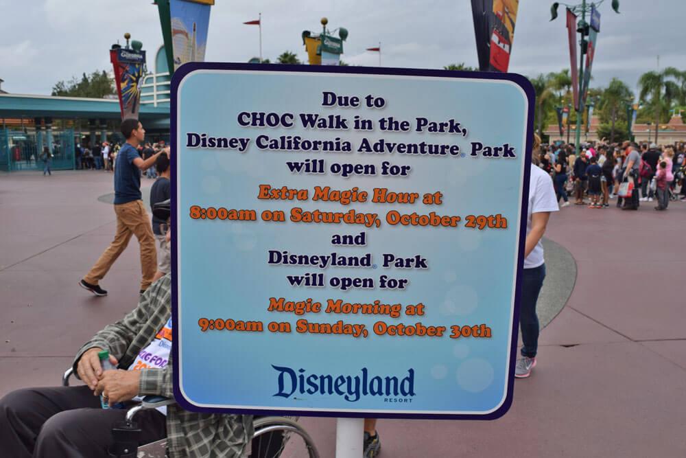Disneyland Magic Morning - Sign