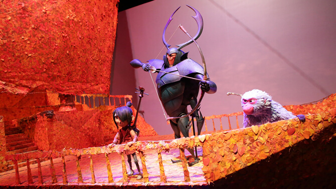 """A set and puppets from Focus Features and Laika's """"Kubo and the Two Strings"""" in """"From Coraline to Kubo: A Magical Laika Experience"""" at Universal Studios Hollywood."""