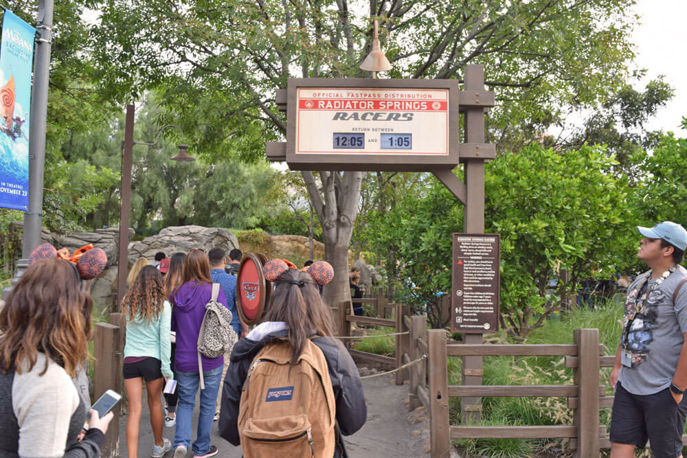 Disneyland Extra Magic Hour and Disneyland Magic Morning - Radiator Springs Racers FastPass Line