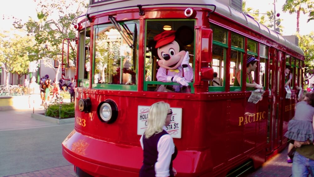 Best Time to Visit Disneyland in 2017 & 2018 - Mickey in Red Car Trolley