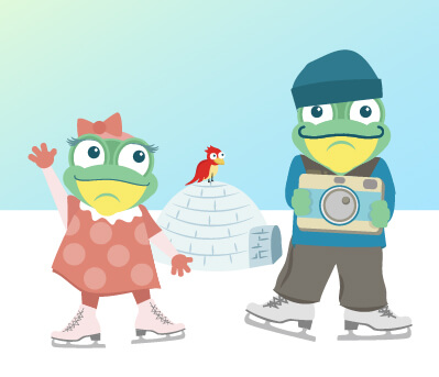 Introducing our Family Ski Vacation Planning Page - Tad and Lily Ice Skating Illustration