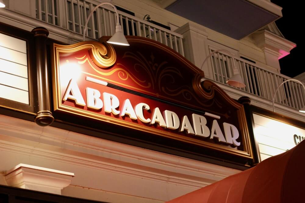 The 6 Best Bars and Lounges at Disney World - AbracadaBar - Signage