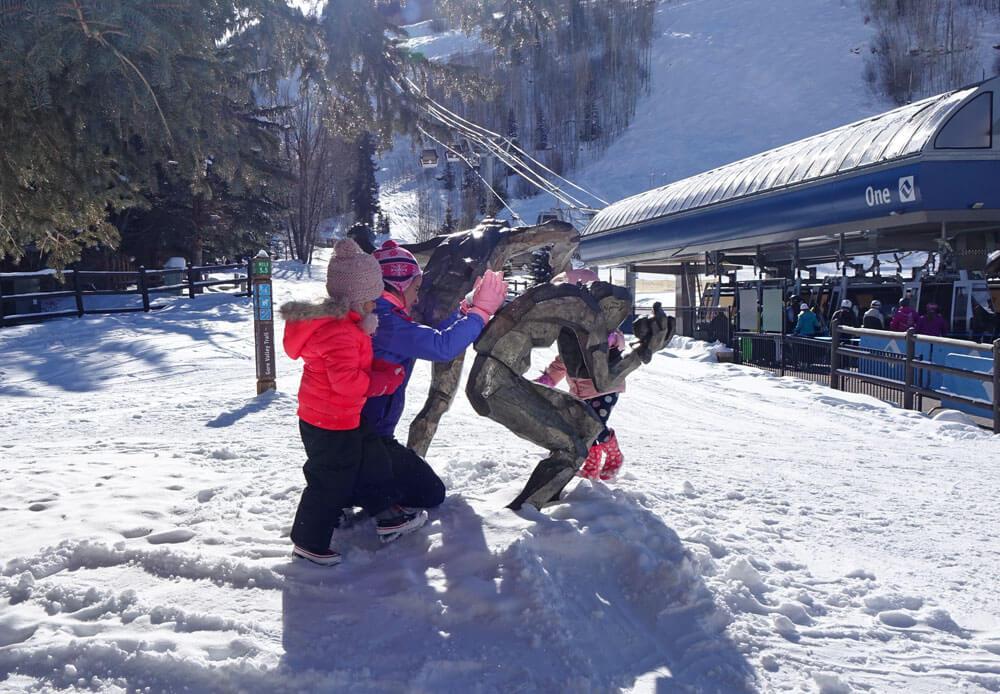 Tips for a Family Ski Trip - Statue near Gondola One