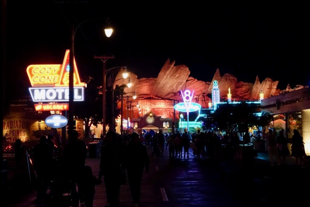 Managing Summer Crowds and Heat at Disneyland - Cars Land At Night