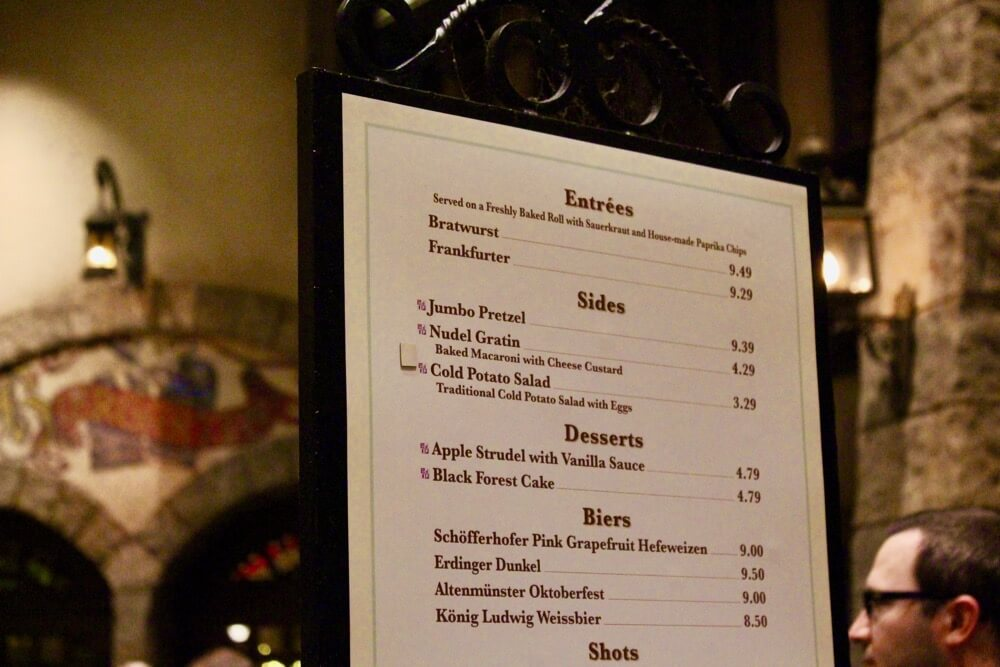 Counter Service Restaurants at Epcot - Sommerfest Menu