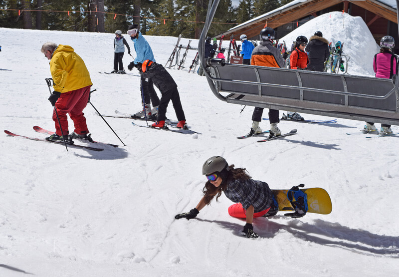 Family Ski Safety - Snowboarders on the Lift