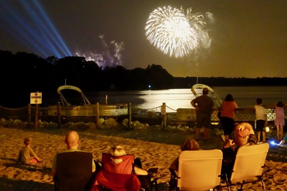 Fort Wilderness at Disney World - Ft. Wilderness Fireworks on Beach