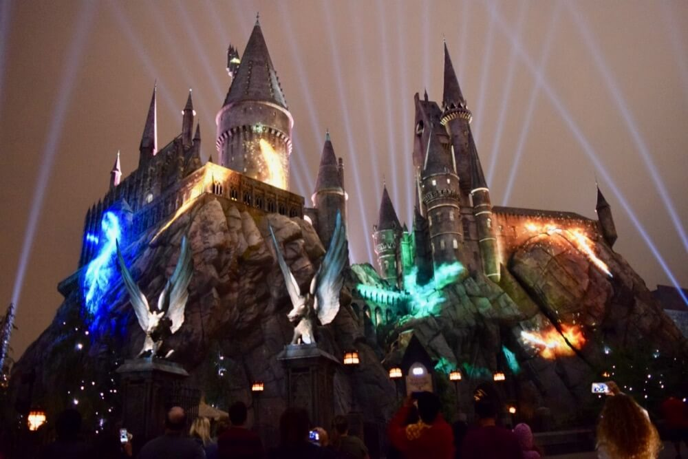 Nighttime Lights at Hogwarts Castle - House Colors