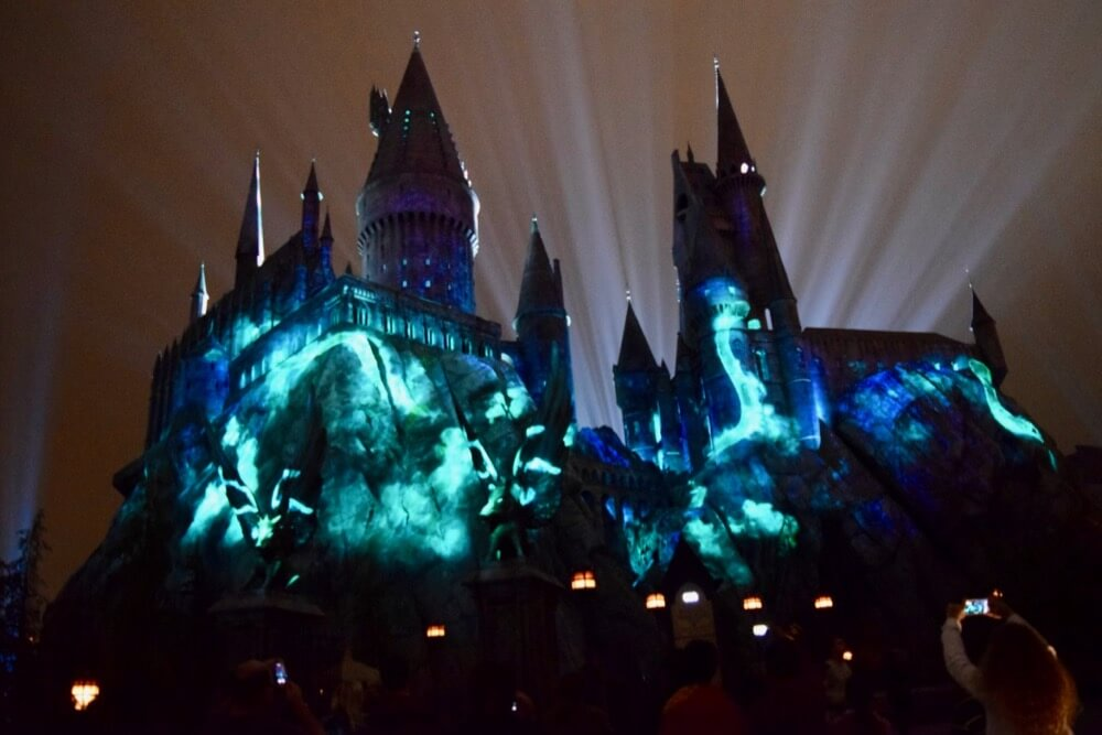 Nighttime Lights at Hogwarts Castle - Snake Projections