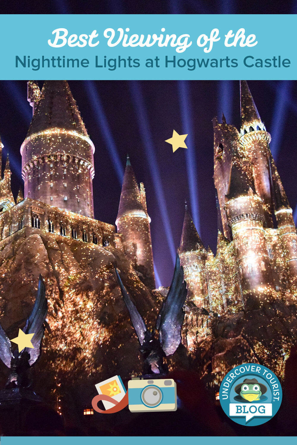 Nighttime Lights at Hogwarts Castle - Pinterest Header