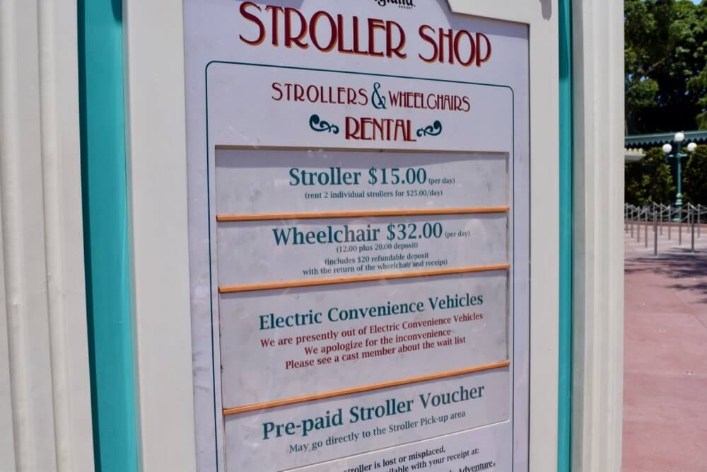 Disneyland Disability Access Service - Disneyland Stroller Shop Sign