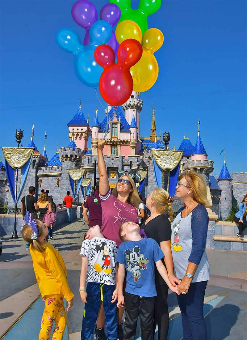 Disneyland Photo Pass - Magic Shot of Balloons in Front of Castle