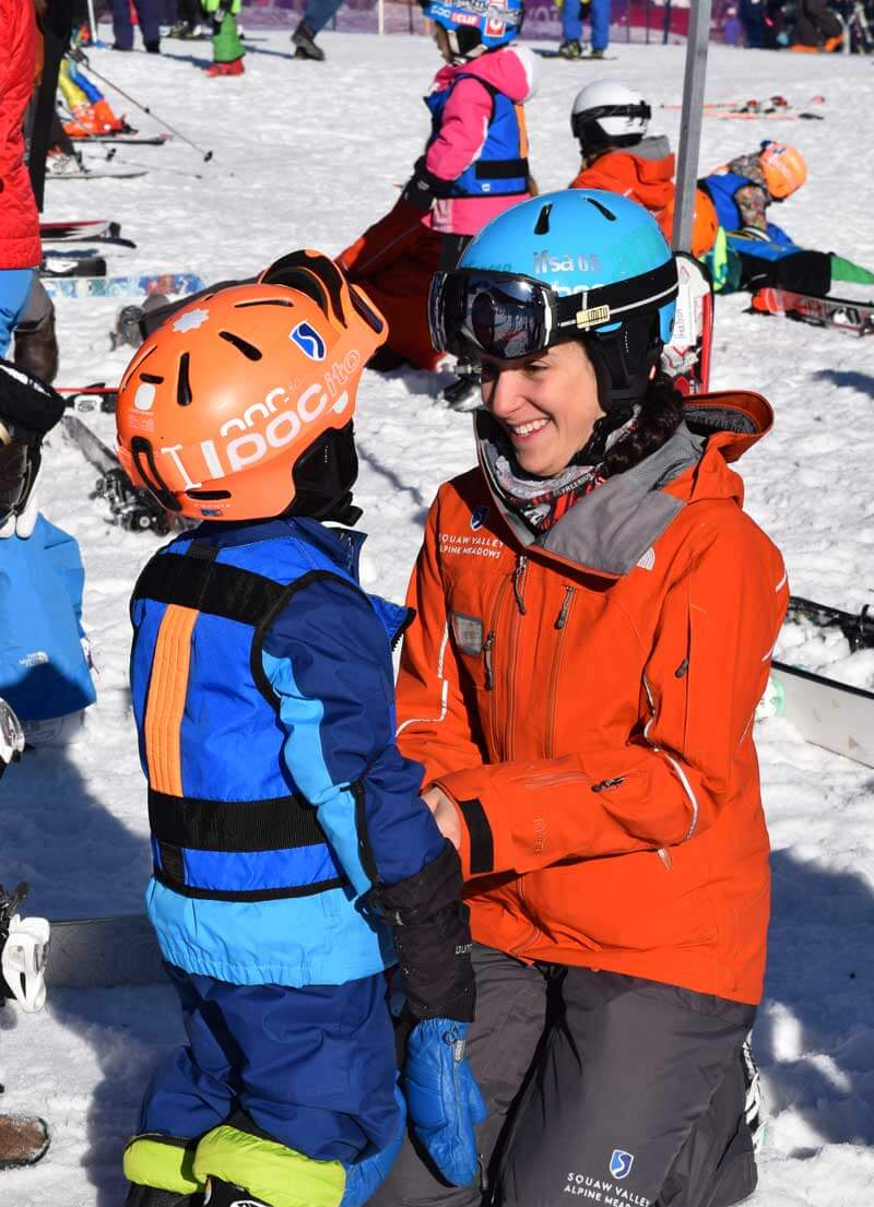 Family Ski School Tips - Mom and Child at Ski School Dropoff