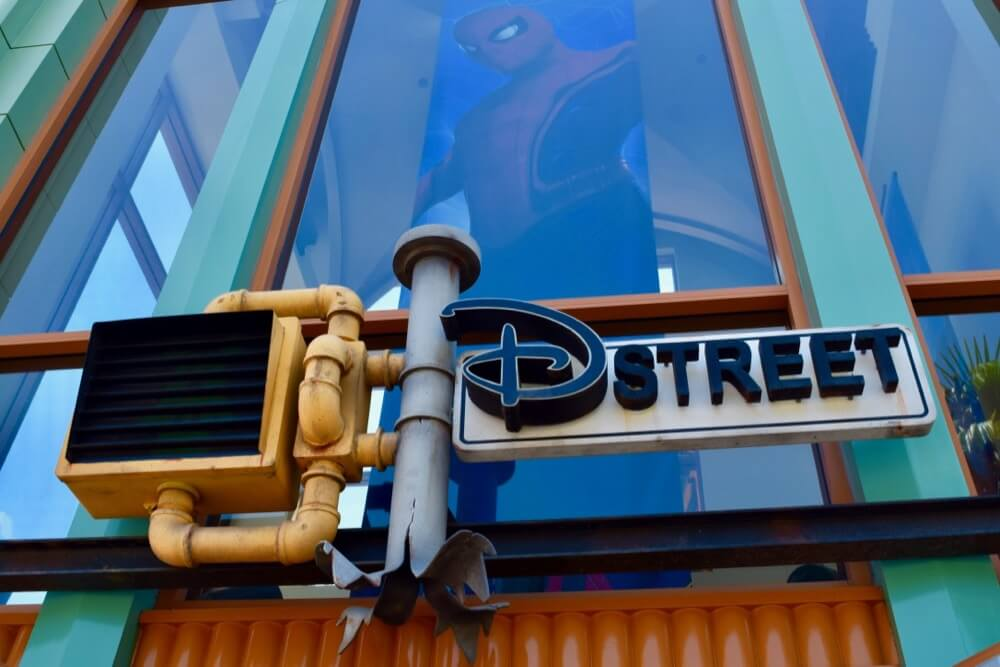 Guide To Downtown Disney at Disneyland - D Street Sign