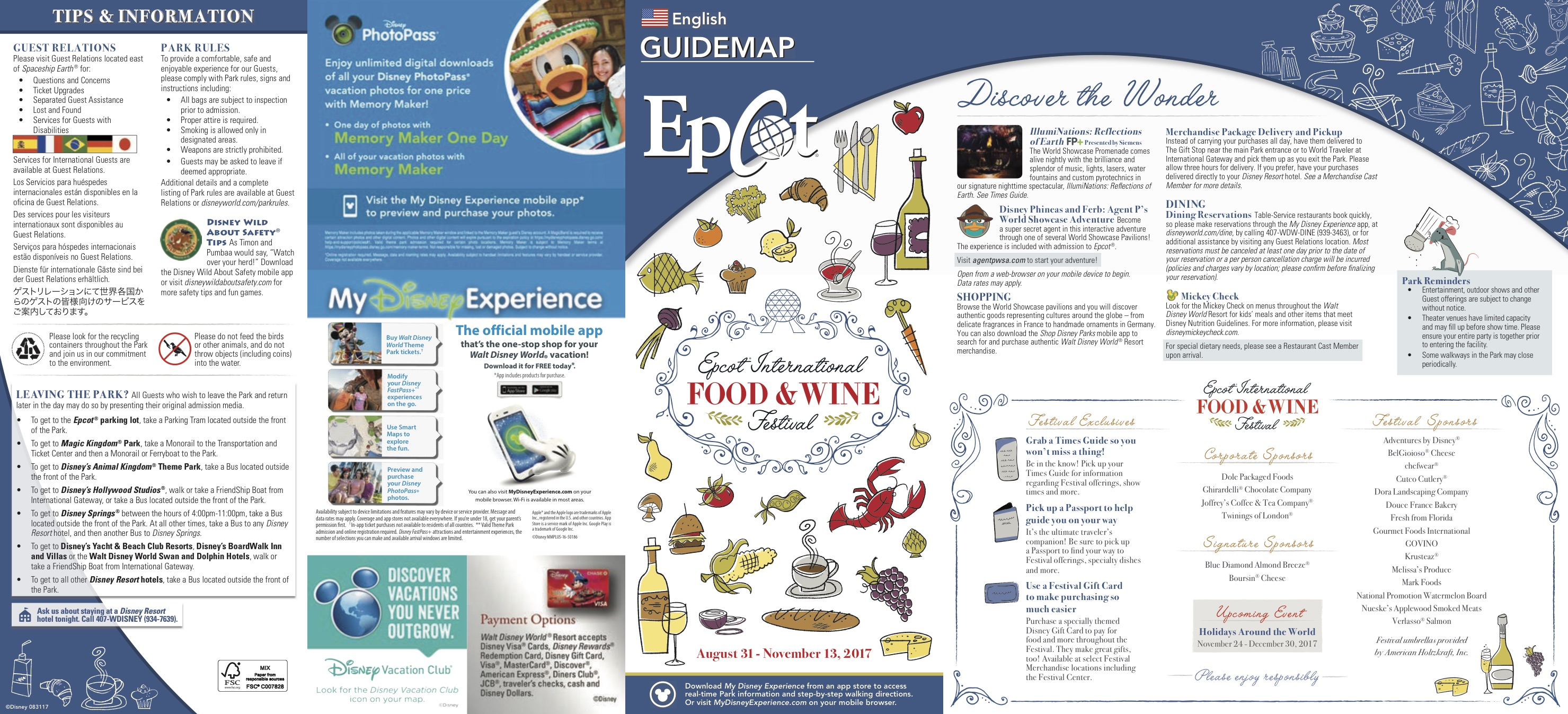 Epcot Food and Wine Festival 2017 - Epcot Food and Wine Map - Side One