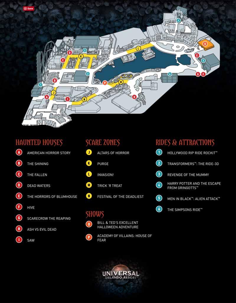 Universal Orlando Halloween Horror Nights 27 Map