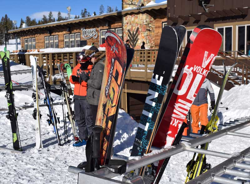 Rent or Buy Ski Equipment - Skis outside the Lodge