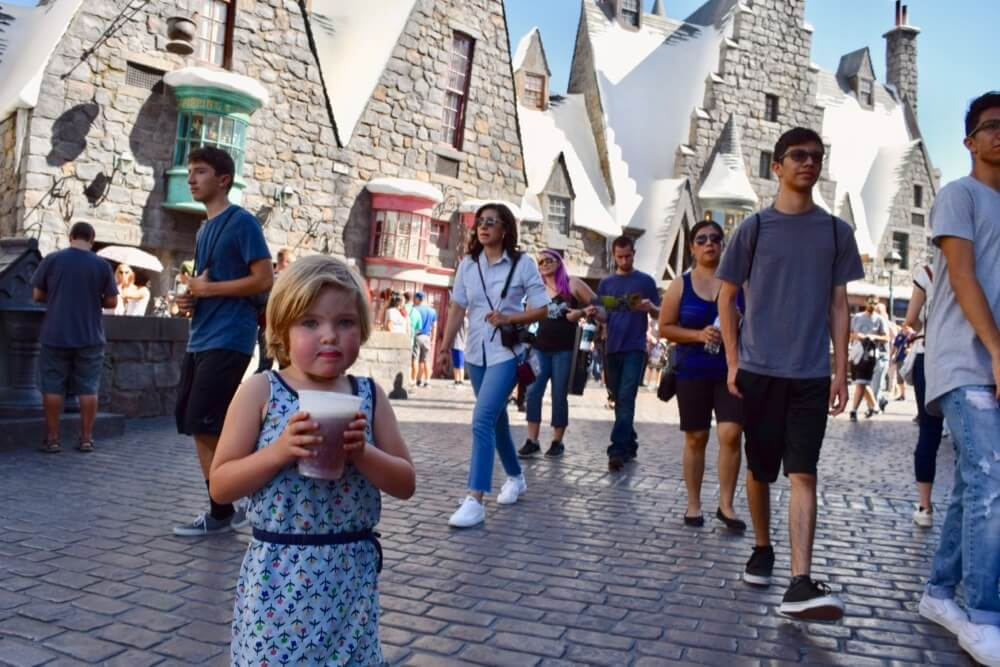 Entertaining Small Children at Universal Studios Hollywood - Butterbeer Moustache