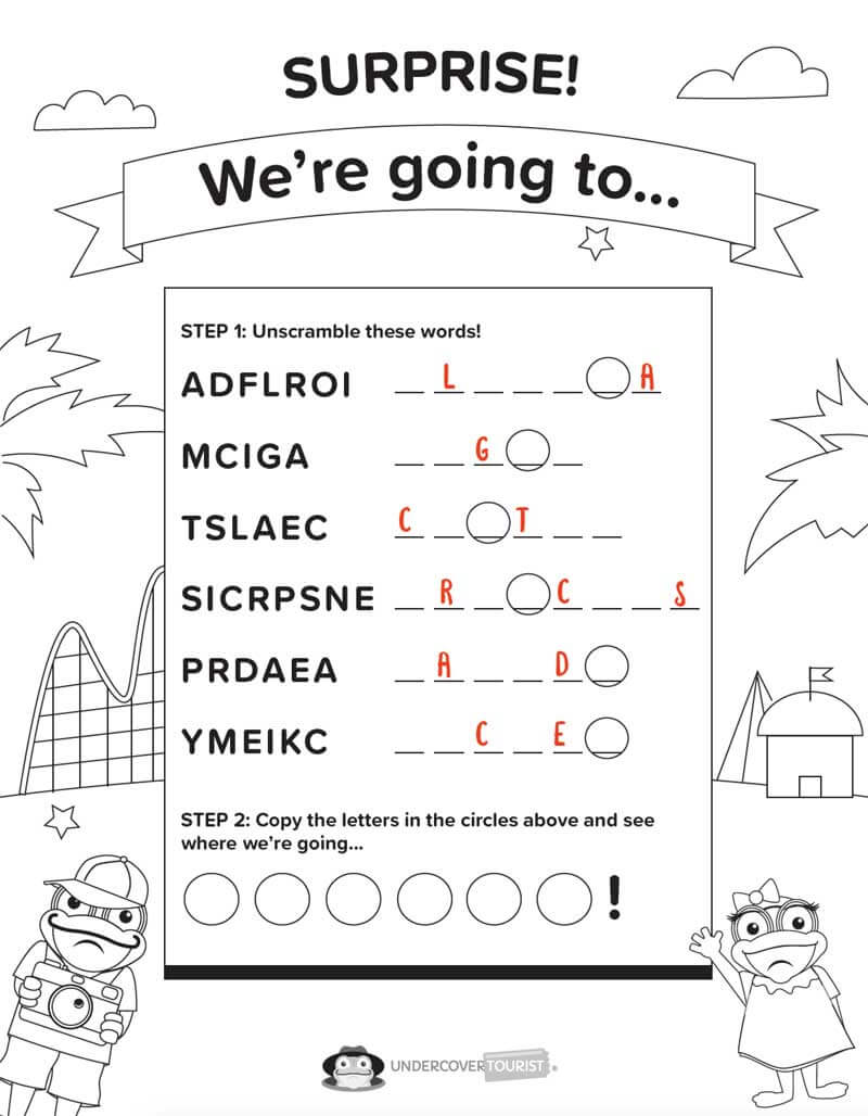 Surprise! We're Going to Disney - We're Going to Disney Word Search Printable
