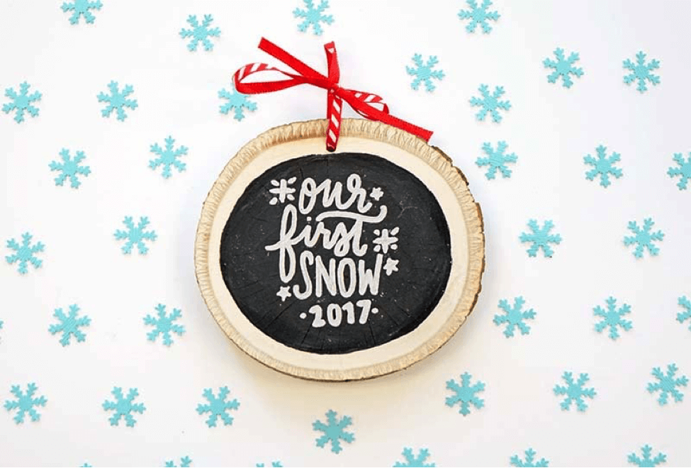 Celebrate Your Ski Trip with a DIY Our First Snow Wood Ornament