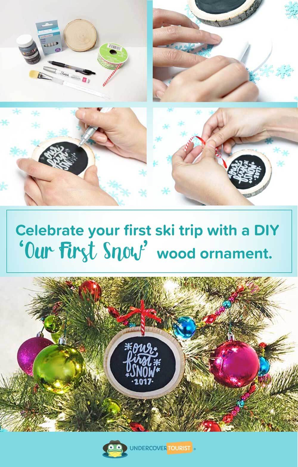 DIY Our First Snow Wood Ornament