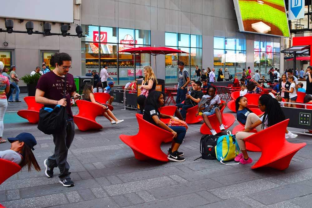 Visiting NYC with Kids - Wobbly Chairs in Times Square