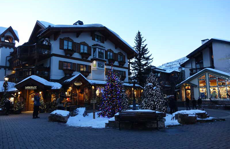 Best Time to Ski in Colorado - Vail Village Christmas Trees