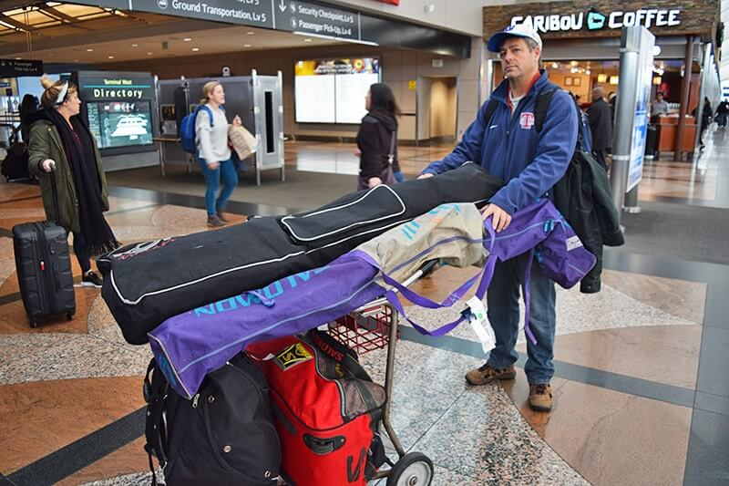 Tips for Flying with Skis - Skis on Cart