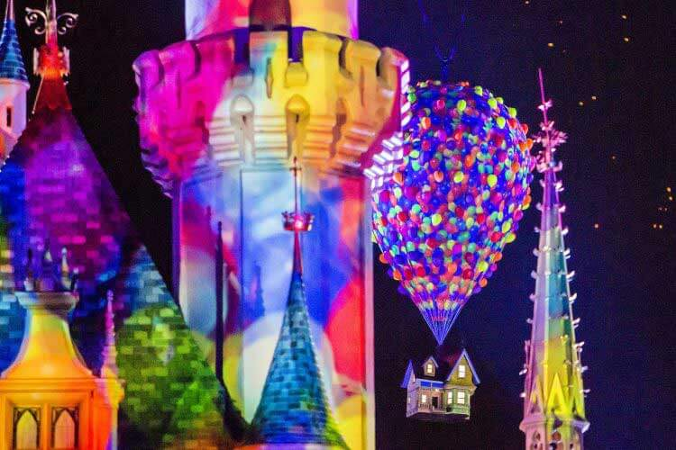 Best Places to View Disneyland Fireworks - Up Balloons on Sleeping Beauty Castle