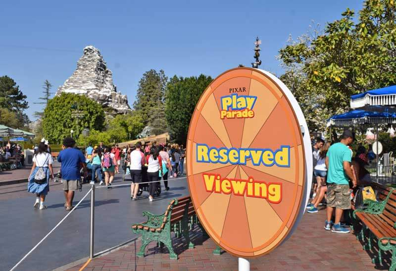 Best Spot to View Disneyland Pixar Play Parade - Reserved Viewing Location