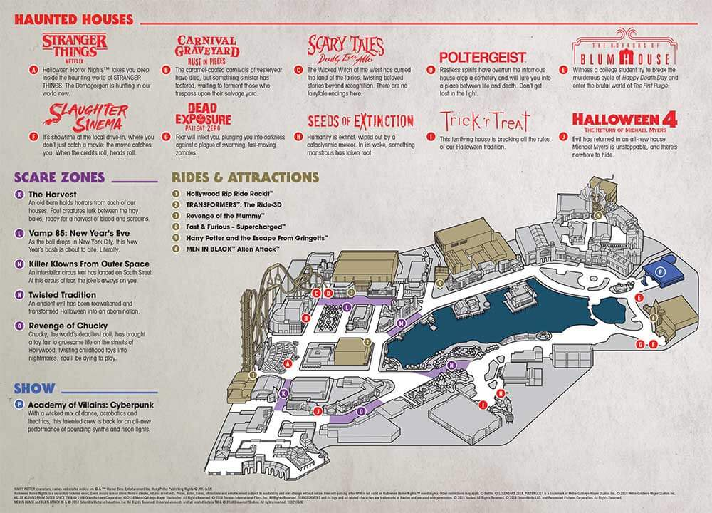 Halloween Horror Nights Orlando - Park Map