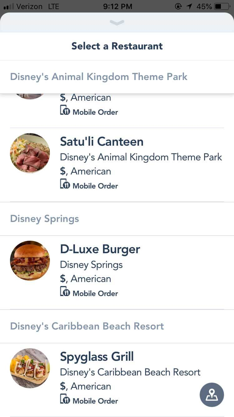 Disney World Mobile Ordering - Select Restaurant
