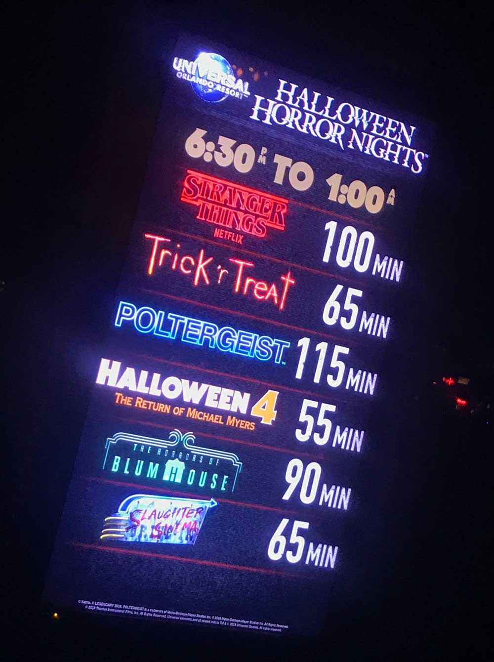 Halloween Horror Nights Orlando 2019 - Wait Times