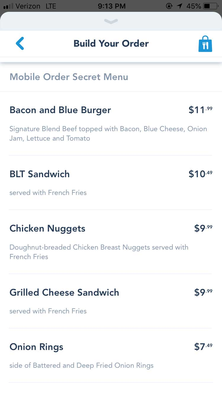 Disney World Mobile Ordering - Secret Menu Items