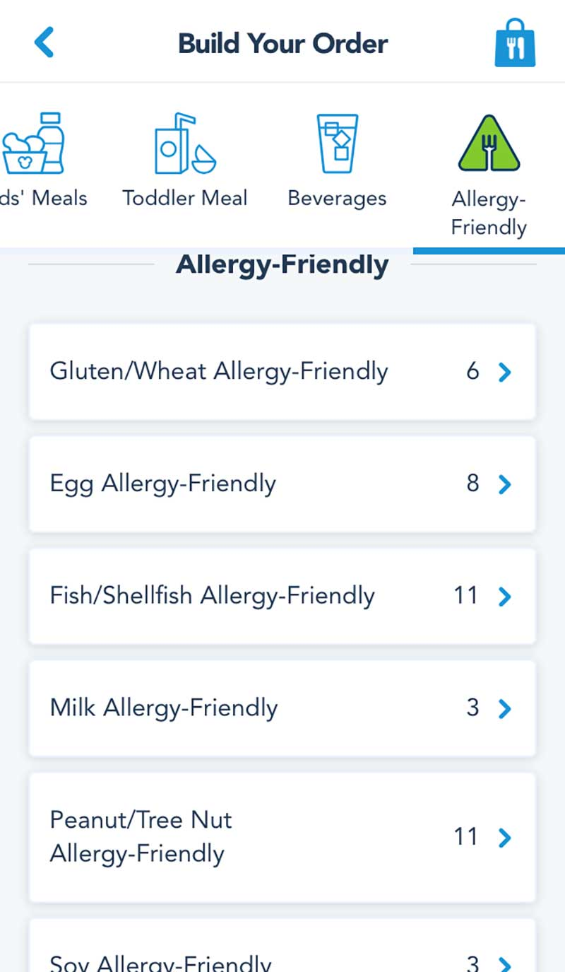 Disneyland Mobile Order Service - Food Allergies